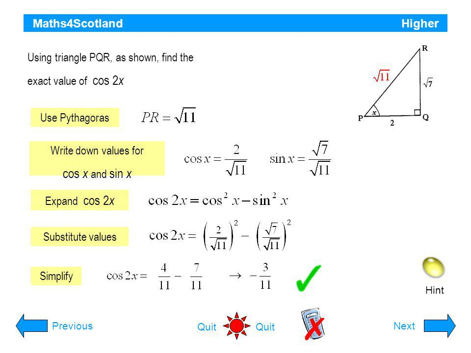 cos x and sin x Maths4Scotland Higher