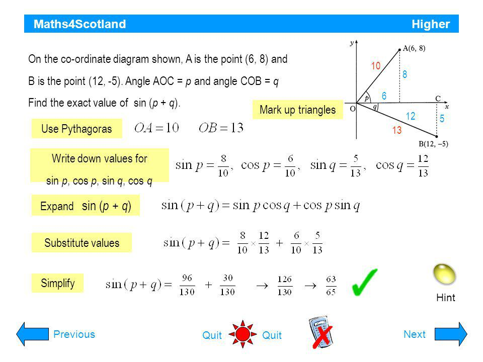 On the co-ordinate diagram shown, A is the point (6, 8) and