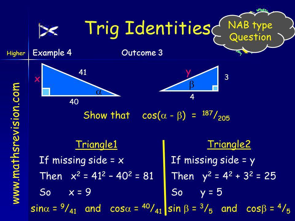 Trig Identities NAB type Question y x  