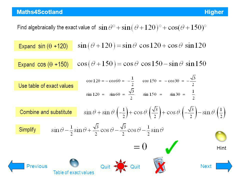 Find algebraically the exact value of
