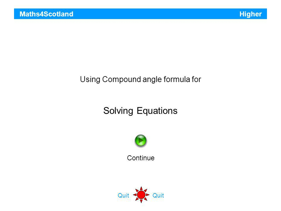 Using Compound angle formula for