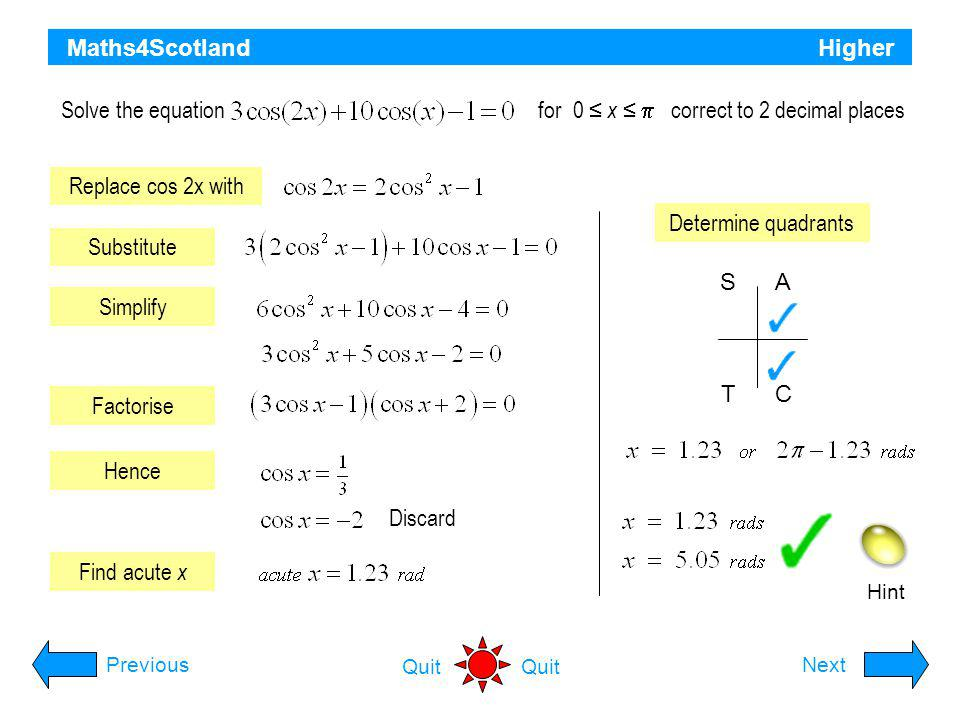 Solve the equation for 0 ≤ x ≤  correct to 2 decimal places