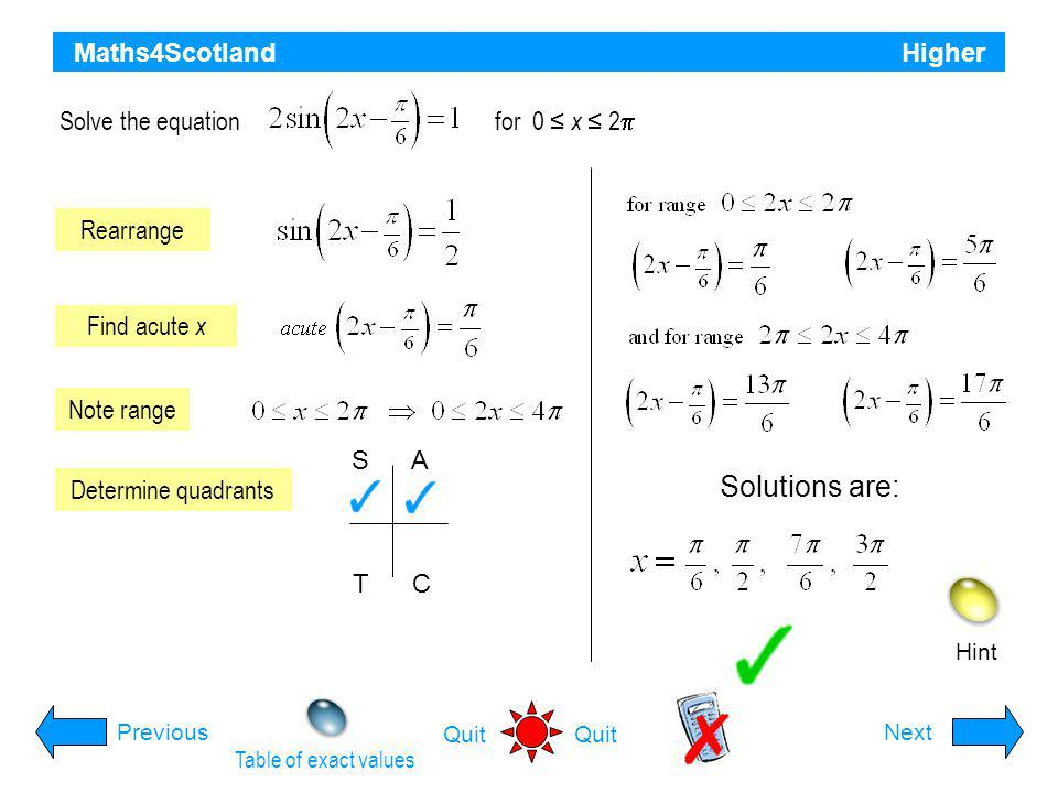Solutions are: Maths4Scotland Higher Solve the equation for 0 ≤ x ≤ 2