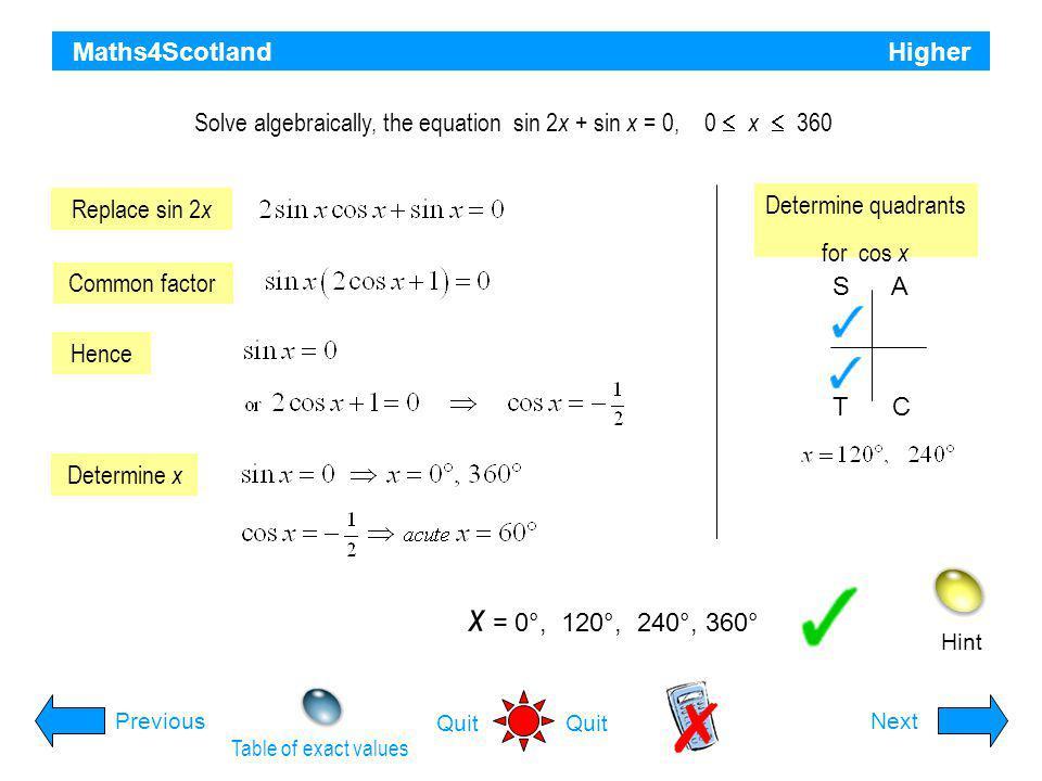 Solve algebraically, the equation sin 2x + sin x = 0, 0  x  360