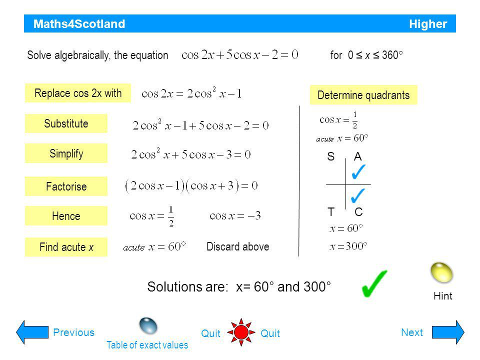 Solutions are: x= 60° and 300°