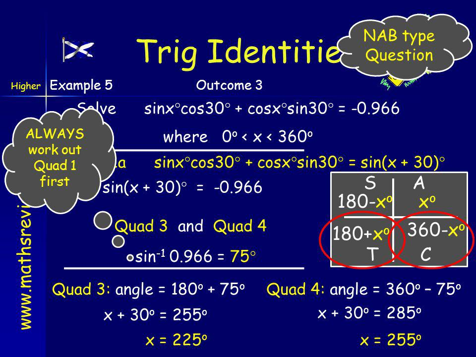 Trig Identities A S T C xo 180+xo 360-xo 180-xo NAB type Question
