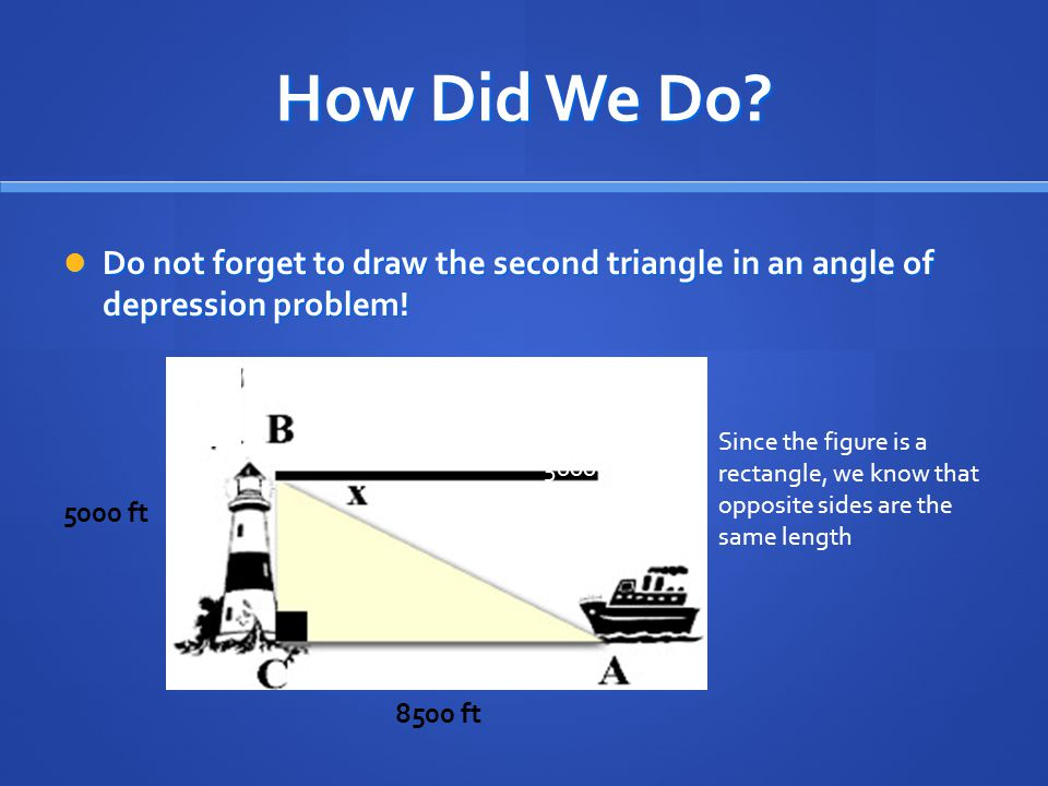 How Did We Do Do not forget to draw the second triangle in an angle of depression problem! 8500 ft.