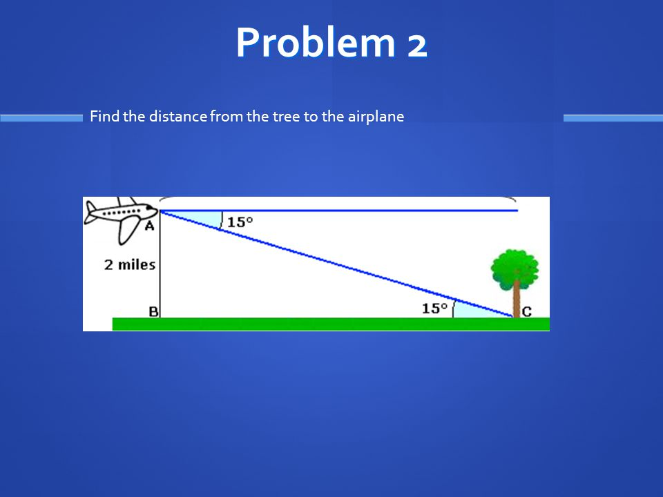 Problem 2 Find the distance from the tree to the airplane