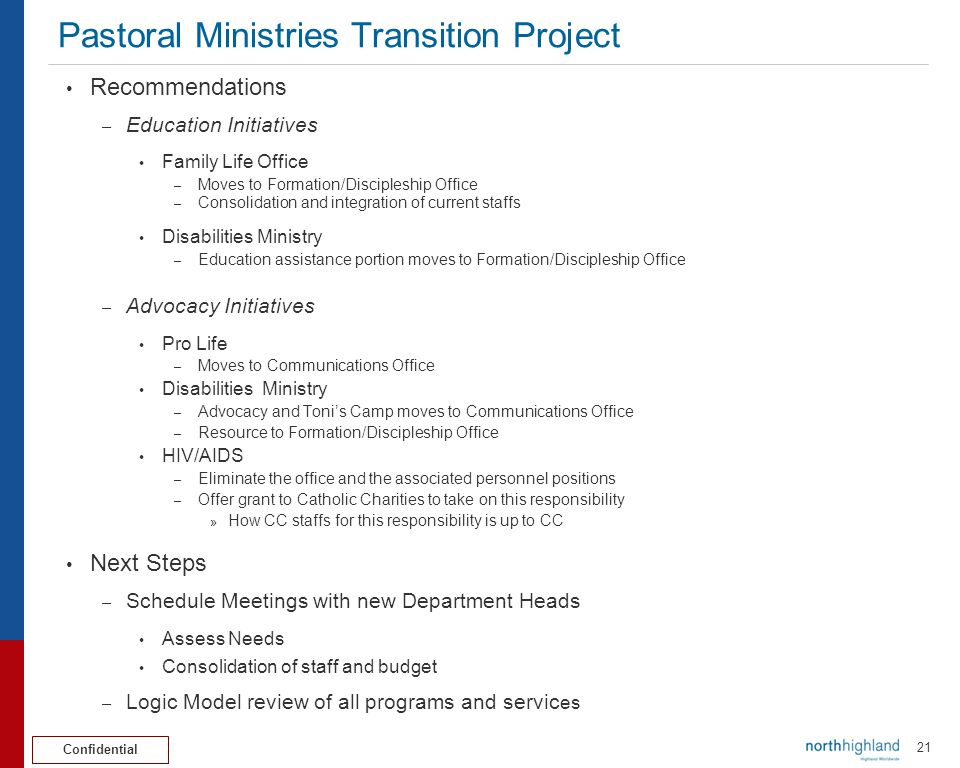 Pastoral Ministries Transition Project