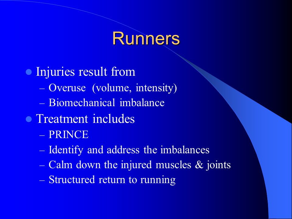 Runners Injuries result from Treatment includes