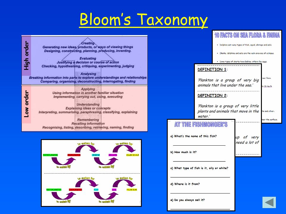 Bloom's Taxonomy High order Low order