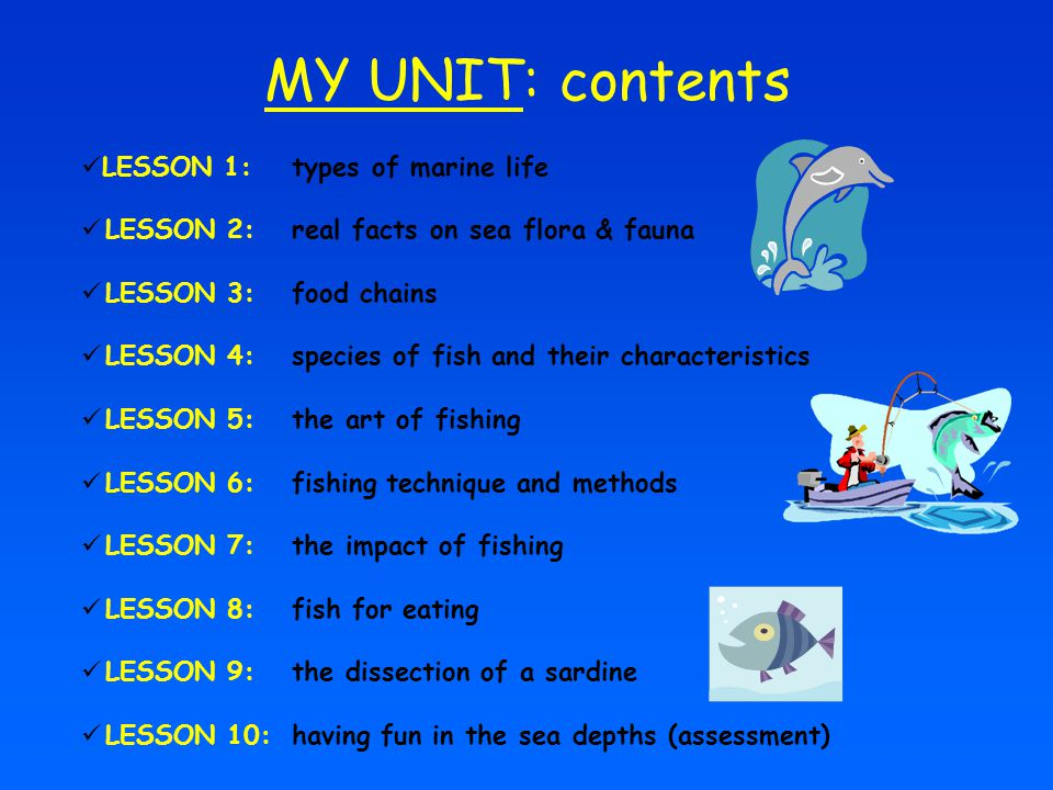 MY UNIT: contents LESSON 1: types of marine life