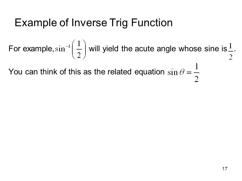 Example of Inverse Trig Function