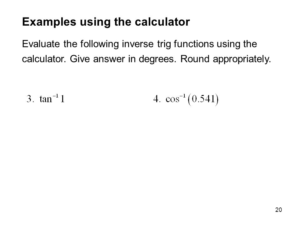 Examples using the calculator