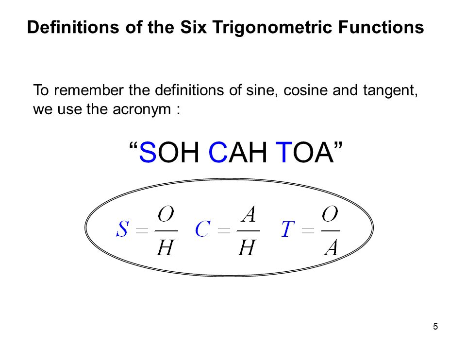 SOH CAH TOA Definitions of the Six Trigonometric Functions