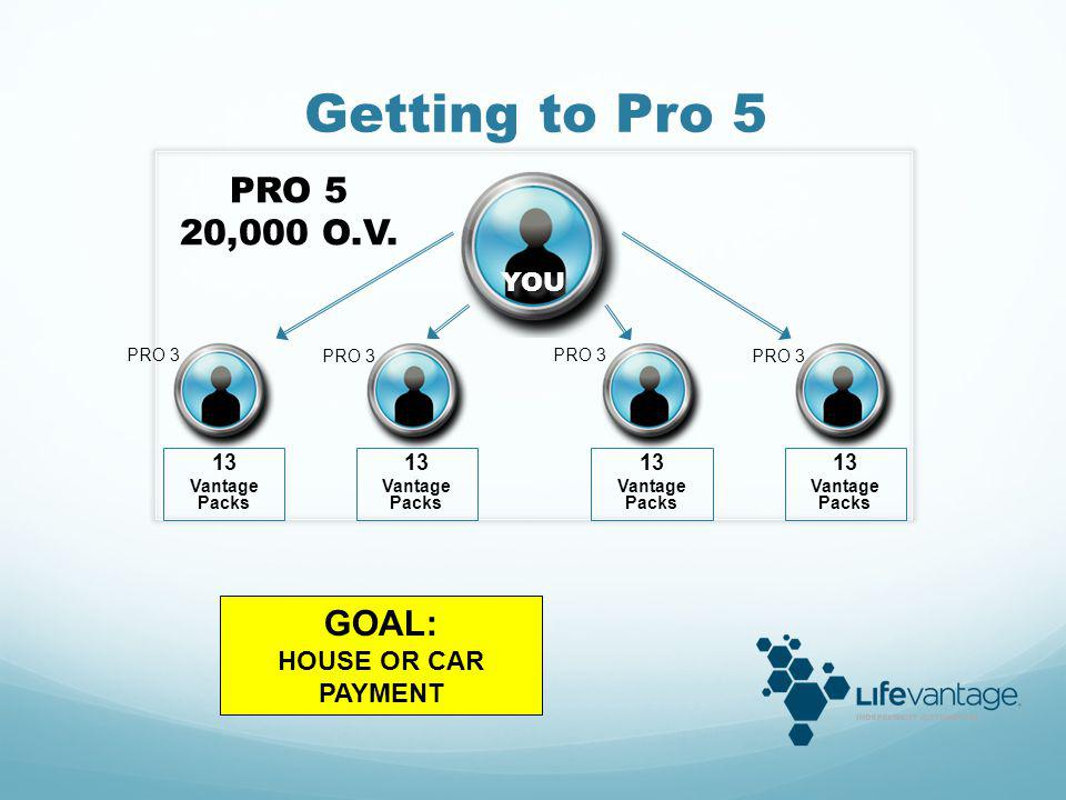 Getting to Pro 5 PRO 5 20,000 O.V. GOAL: YOU HOUSE OR CAR PAYMENT 13