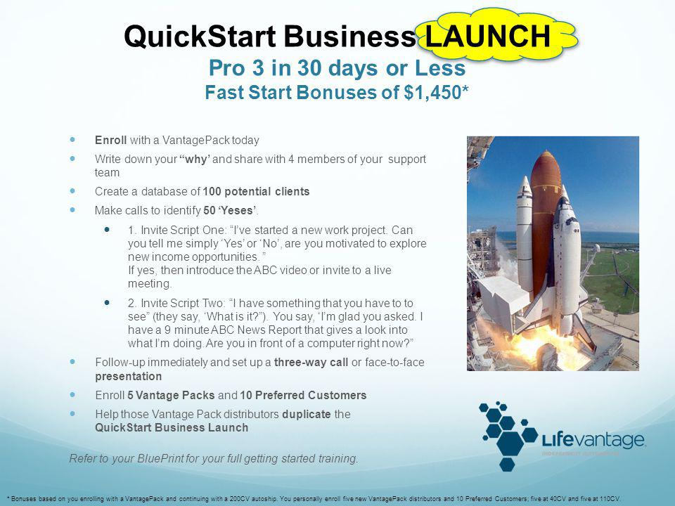 QuickStart Business LAUNCH Pro 3 in 30 days or Less Fast Start Bonuses of $1,450*