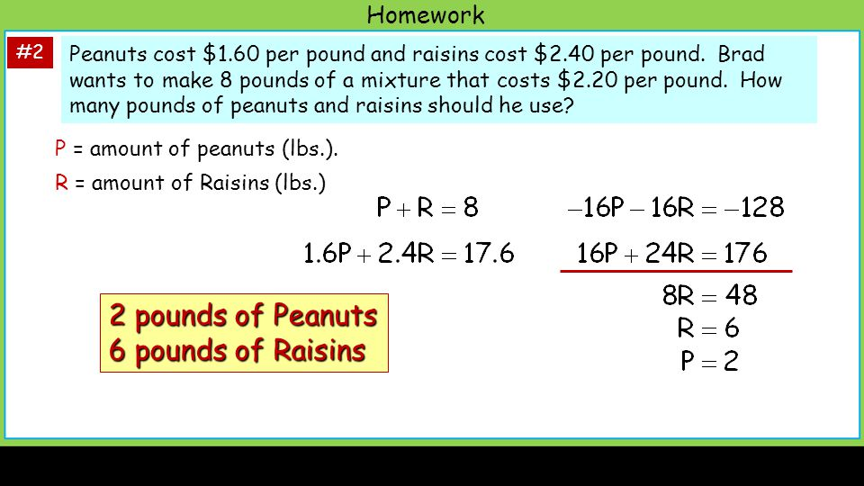 2 pounds of Peanuts 6 pounds of Raisins Homework