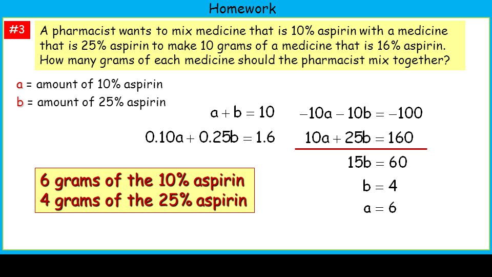 6 grams of the 10% aspirin 4 grams of the 25% aspirin Homework
