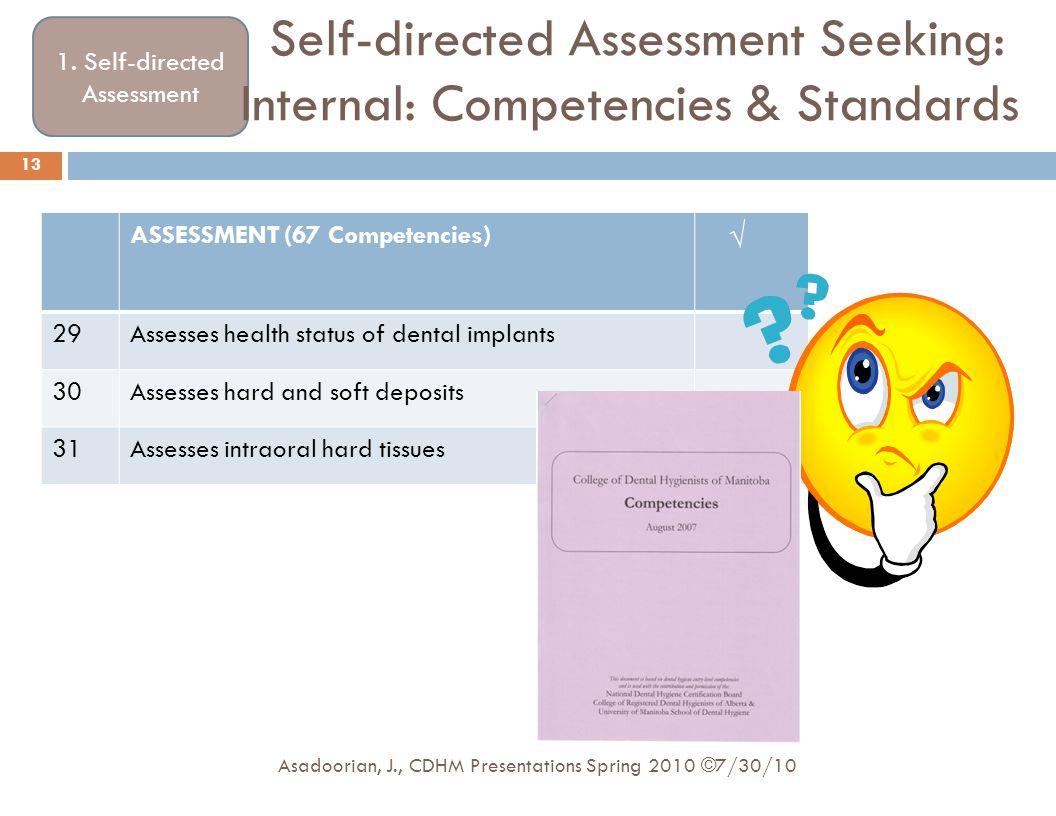 Self-directed Assessment Seeking: Internal: Competencies & Standards