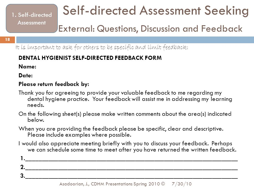 1. Self-directed Assessment