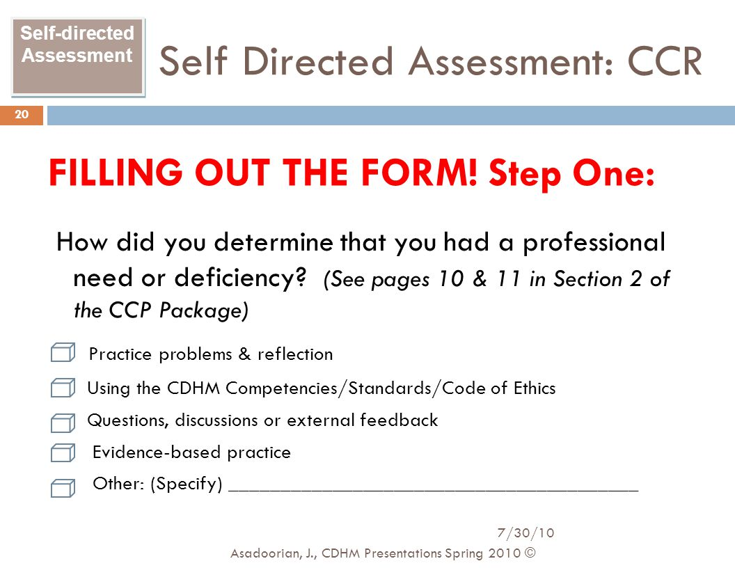 Self Directed Assessment: CCR