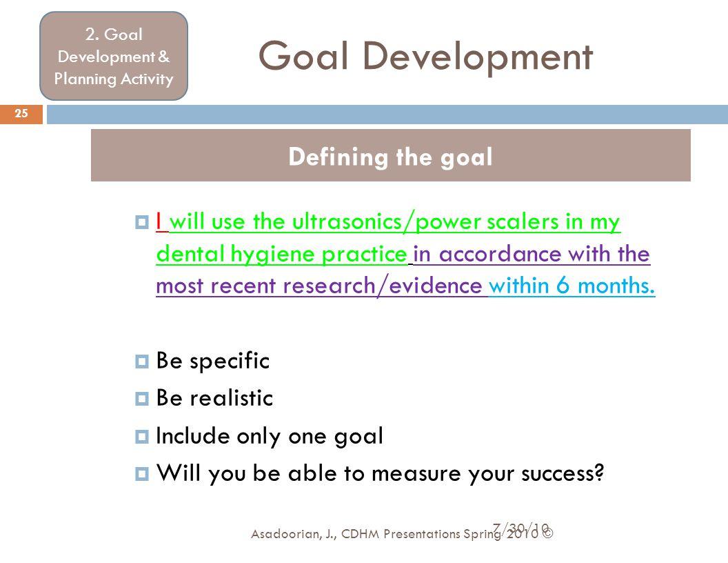 2. Goal Development & Planning Activity