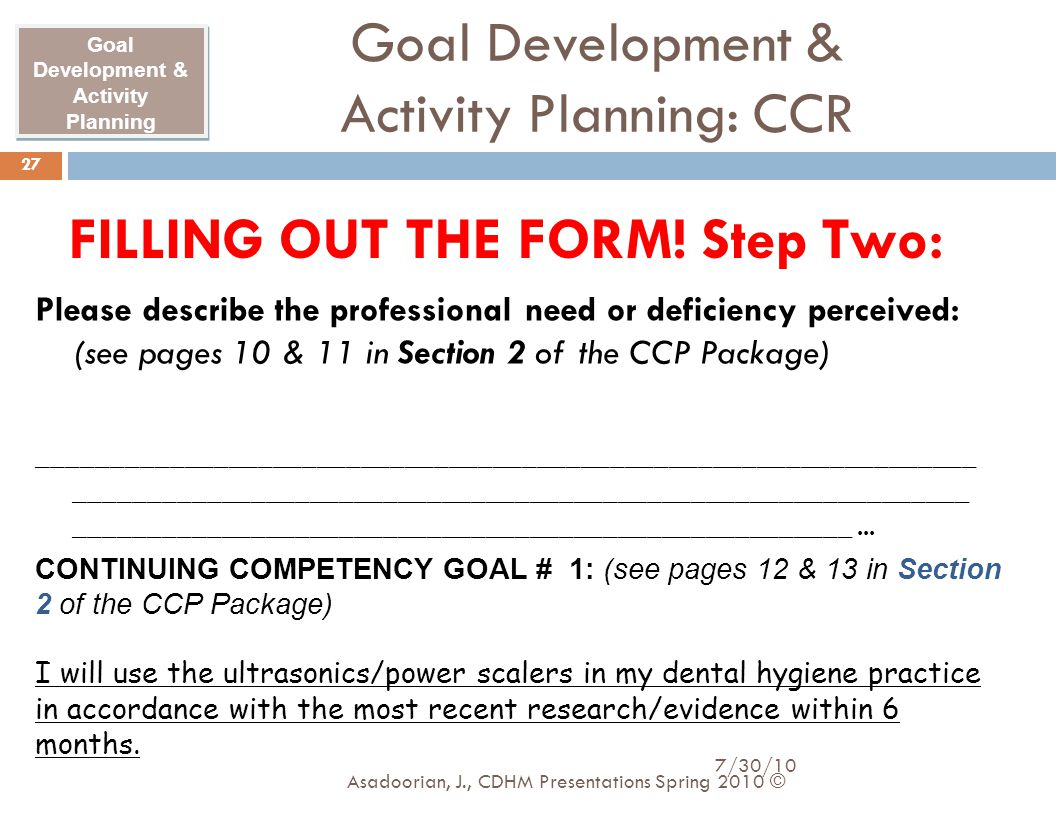 Goal Development & Activity Planning: CCR