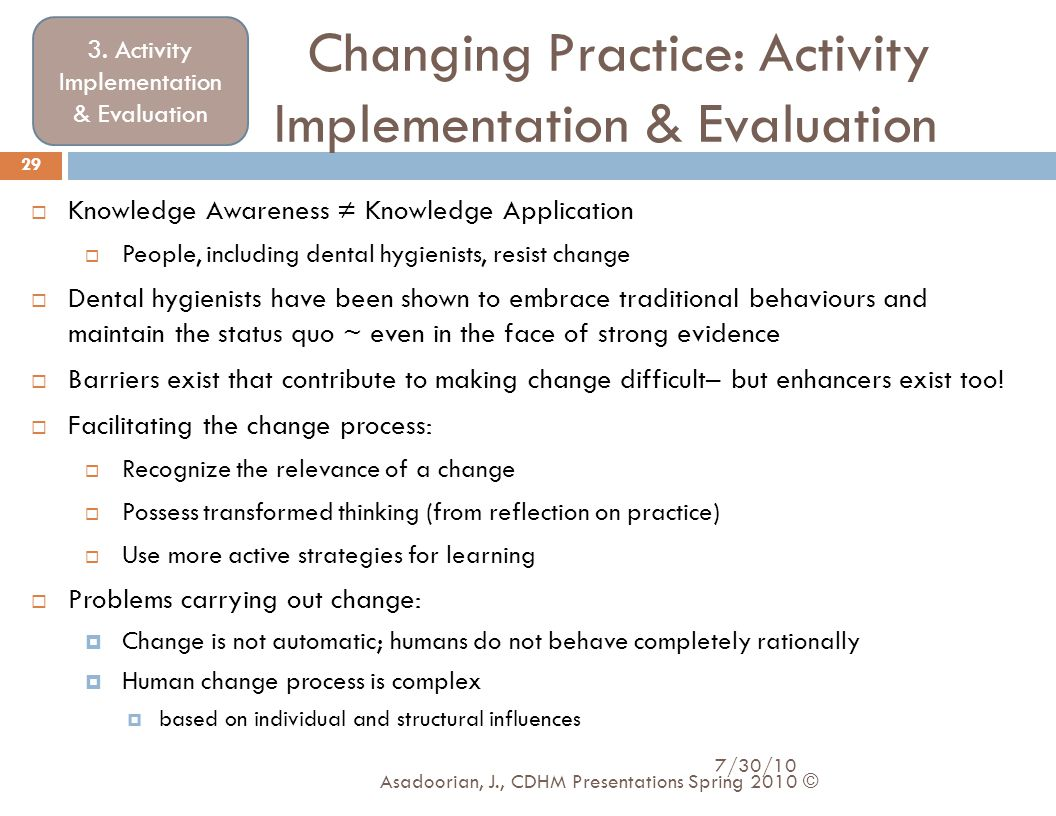Changing Practice: Activity Implementation & Evaluation