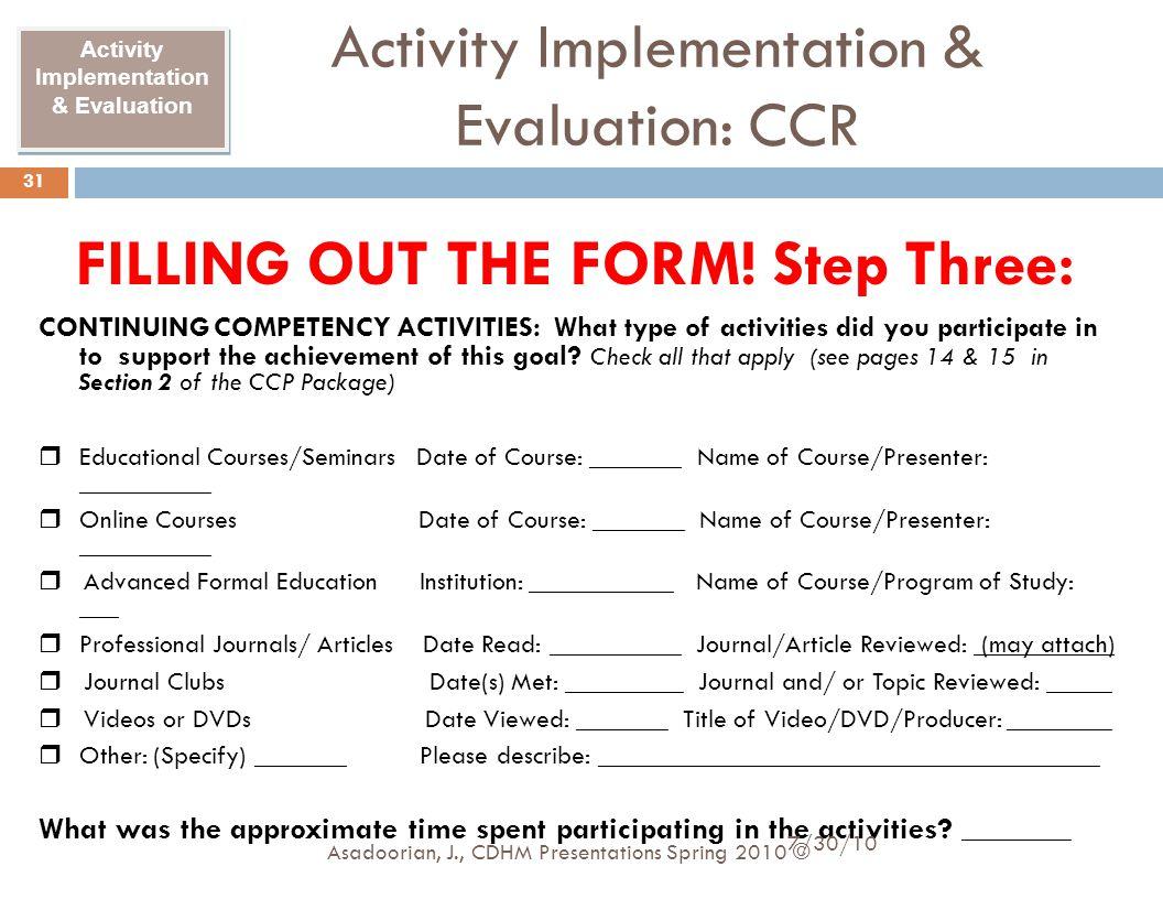Activity Implementation & Evaluation: CCR