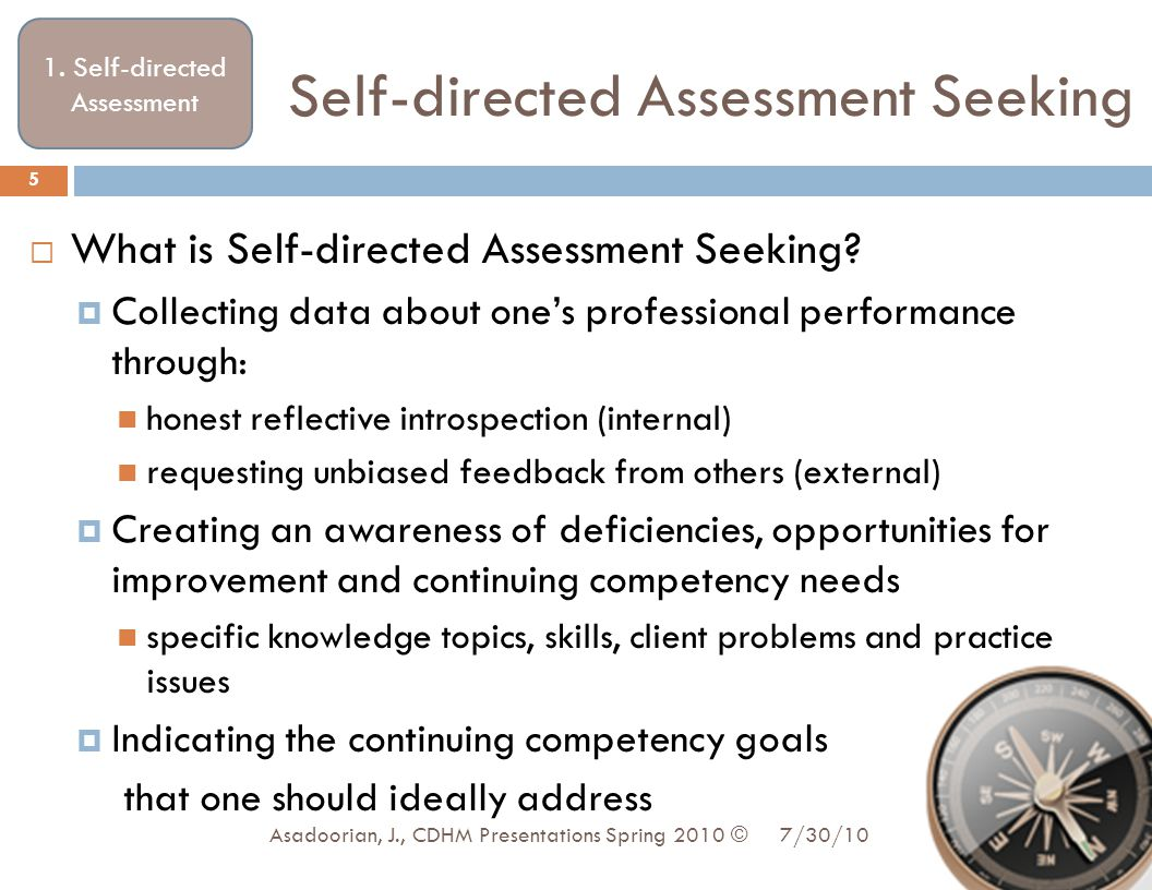Self-directed Assessment Seeking