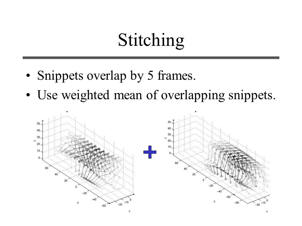 Stitching Snippets overlap by 5 frames.