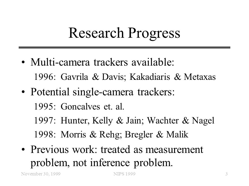 Research Progress Multi-camera trackers available:
