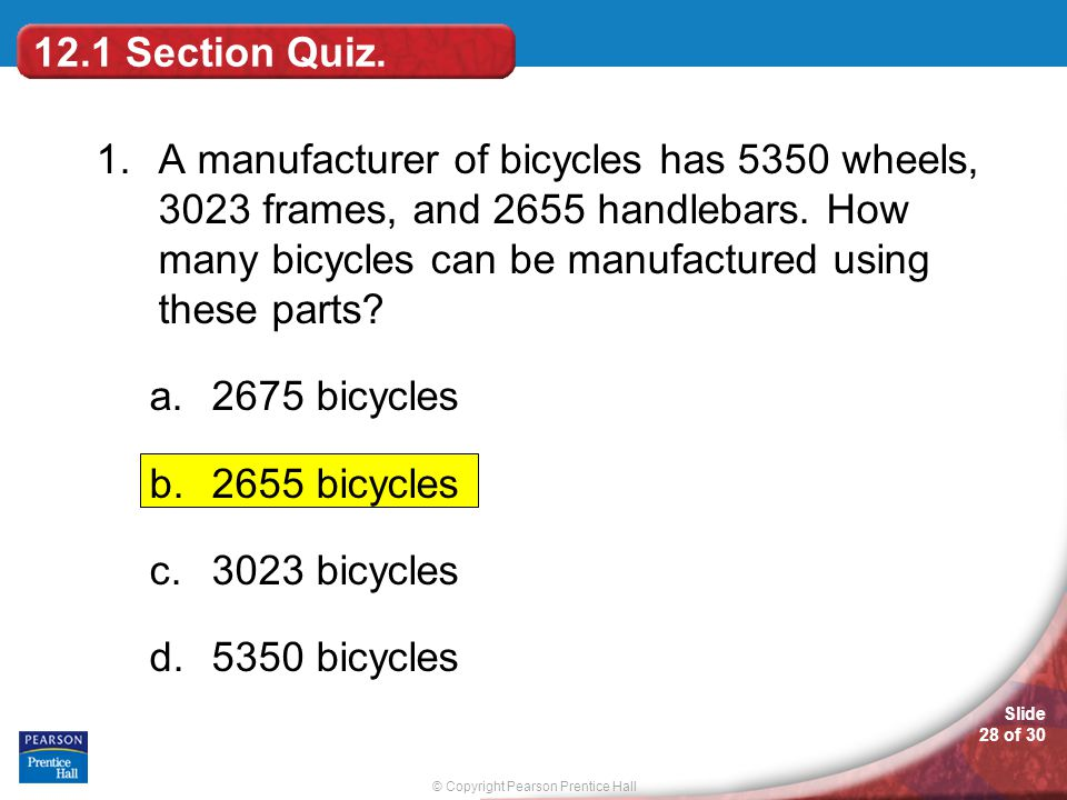 12.1 Section Quiz.