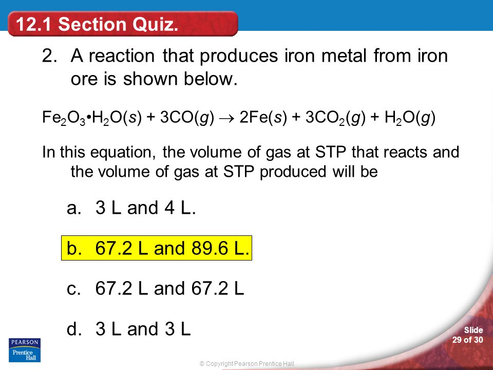 2. A reaction that produces iron metal from iron ore is shown below.