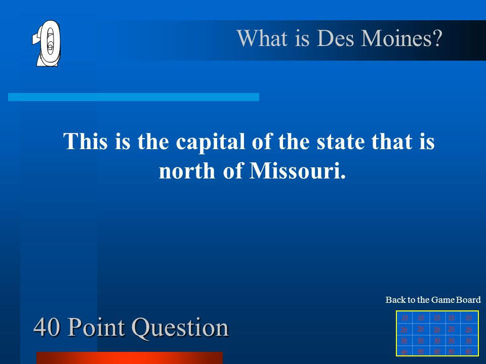 This is the capital of the state that is north of Missouri.