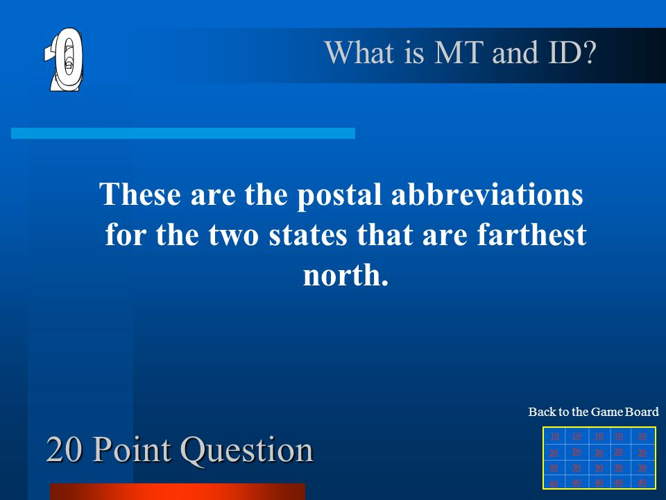 6 1 2 5 4 3 20 Point Question What is MT and ID