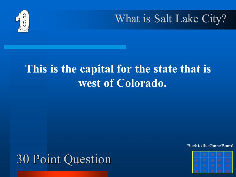 This is the capital for the state that is west of Colorado.