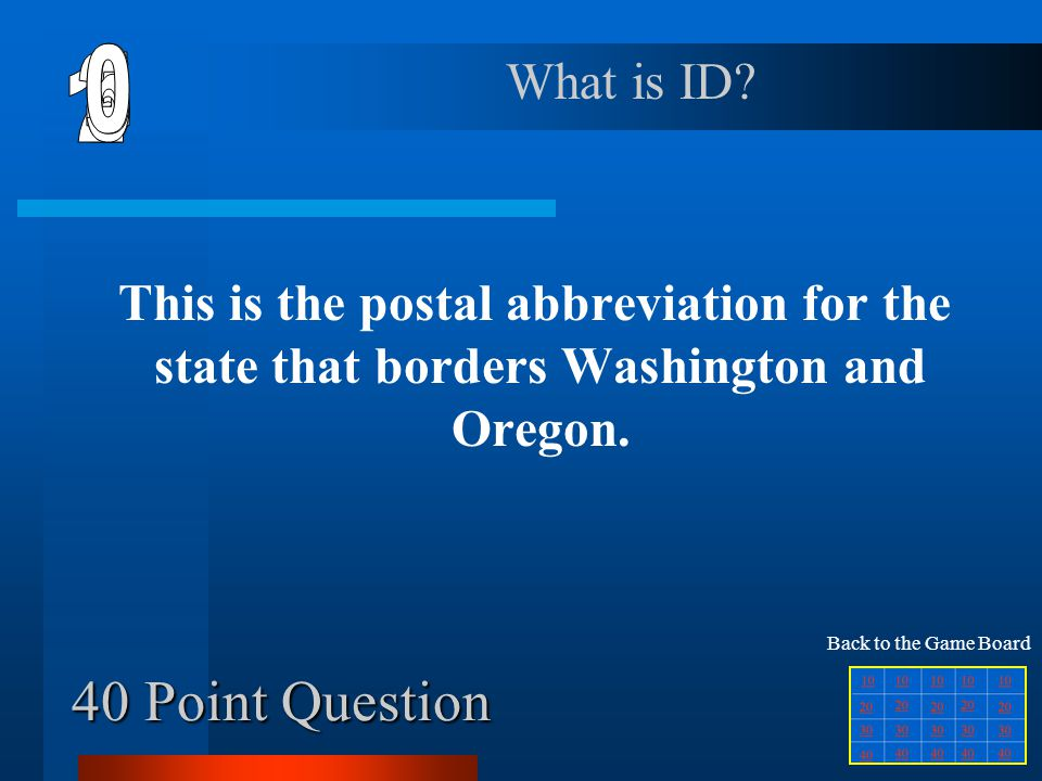 6 1 2 5 4 3 40 Point Question What is ID