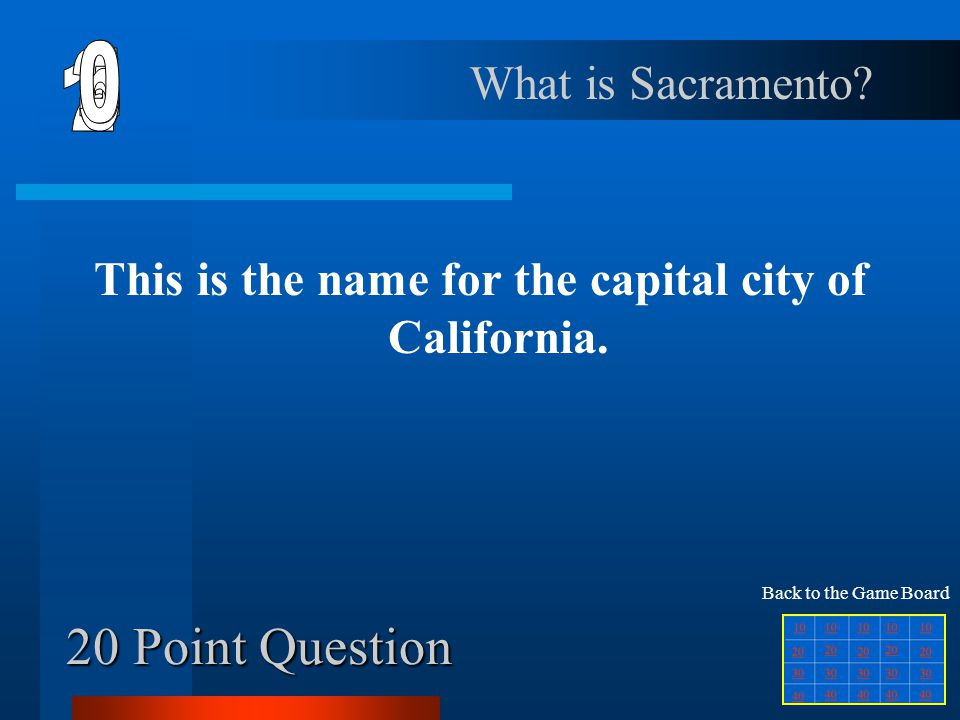 This is the name for the capital city of California.