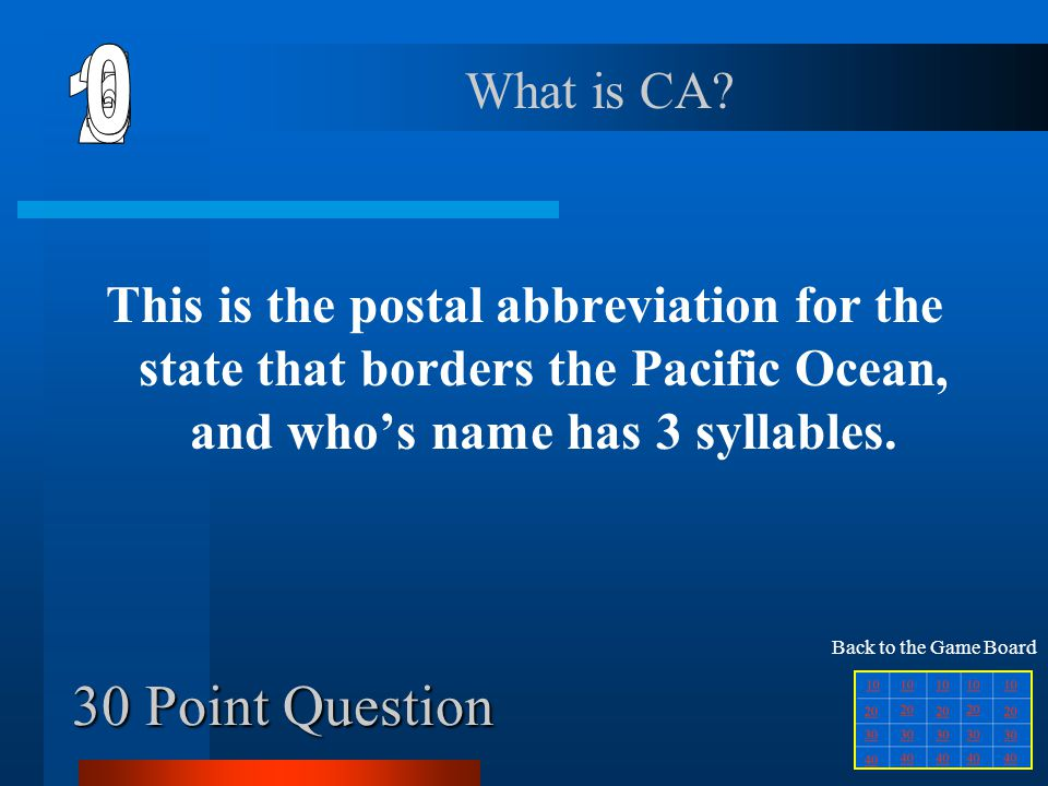 6 1 2 5 4 3 30 Point Question What is CA