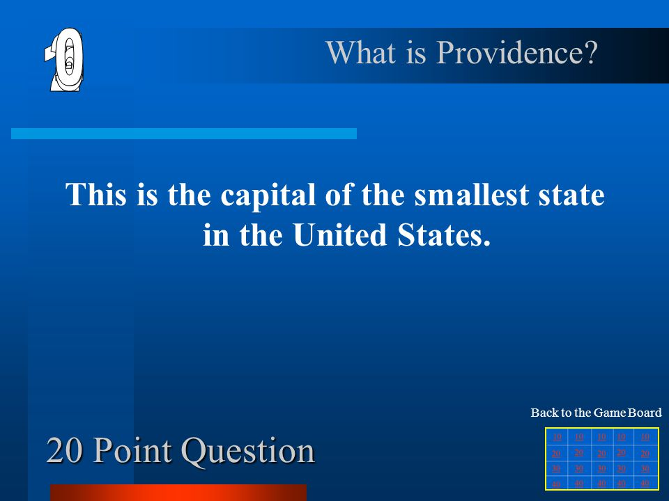 This is the capital of the smallest state in the United States.