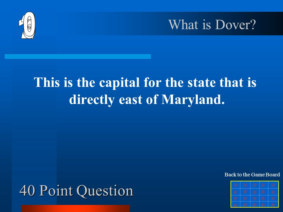 This is the capital for the state that is directly east of Maryland.