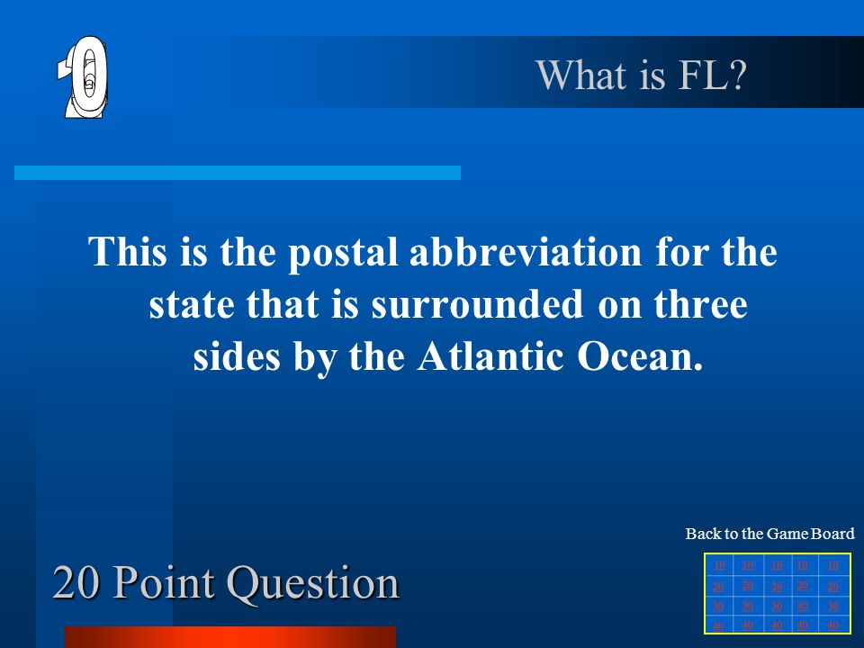 6 1 2 5 4 3 20 Point Question What is FL