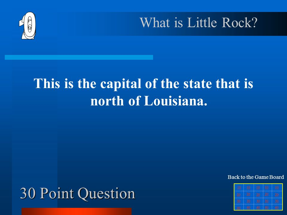 This is the capital of the state that is north of Louisiana.