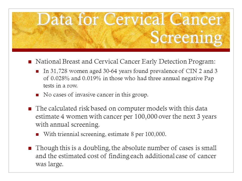 Data for Cervical Cancer Screening