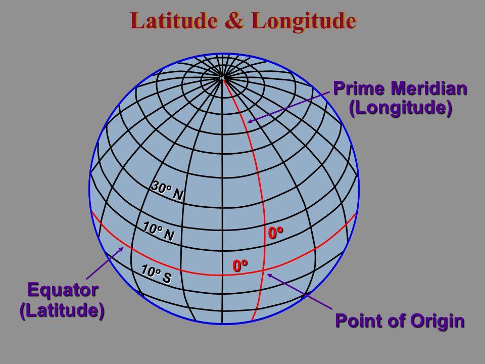 Latitude & Longitude Prime Meridian (Longitude) Equator (Latitude)