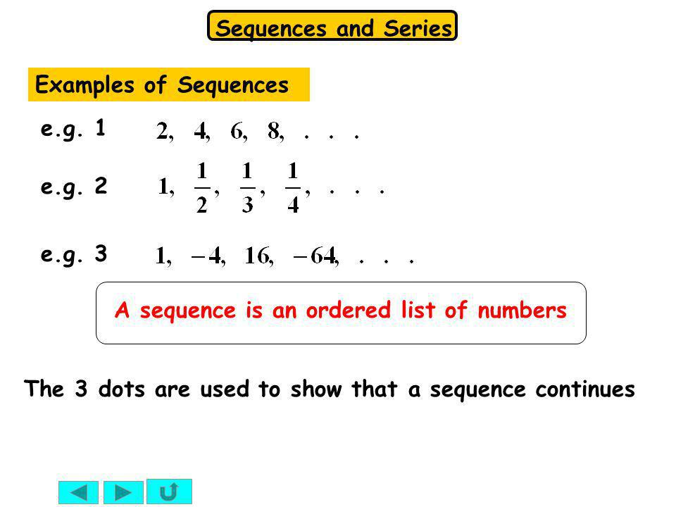 Examples of Sequences e.g. 1. e.g. 2. e.g. 3.