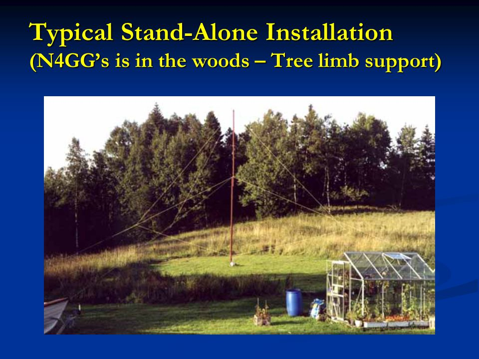 Typical Stand-Alone Installation (N4GG's is in the woods – Tree limb support)