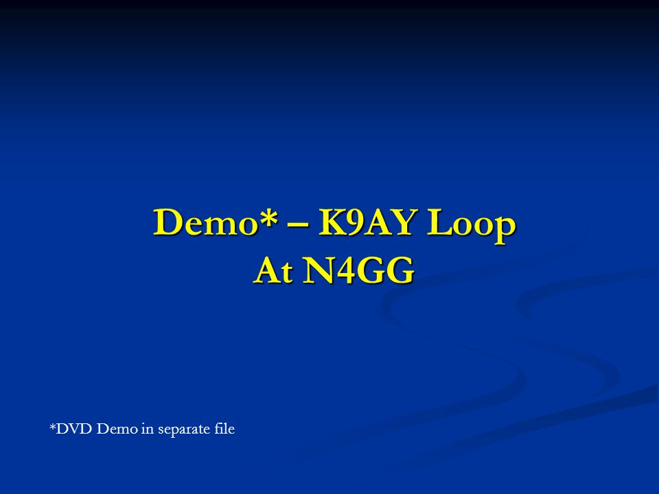 Demo* – K9AY Loop At N4GG *DVD Demo in separate file